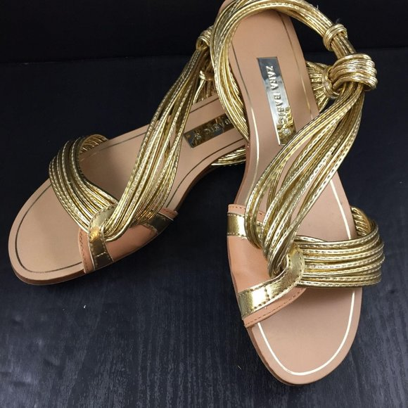 Liquid Gold Sandals Zara Basic Size 38 Open Toe